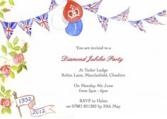 Diamond jubilee party invitation, a beautiful watercolour