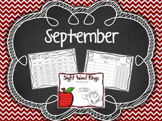 Monthly 1st Grade Homework {September}