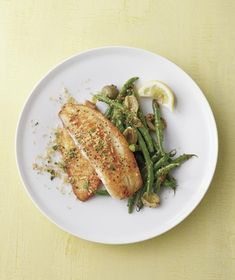 Fish With Herbed Bread Crumbs and Green Beans from realsimple.com #myplate #protein #vegetables