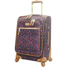 "Steve Madden Luggage Honey 20"" Spinner (Purple). Lightweight construction to make your travel less cumbersome. 360 degree Spinner wheels that enable mobility over a variety of surfaces especially crowded airports. Reinforced handle poles for extra strength and durability. Fully expandable to ensure maximum packing capacity. Fits easily in most airline overhead compartments."