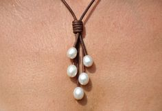 Freshwater Pearl and Leather Necklace 5 by ChristineChandler