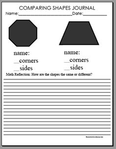 comparing polygons - great way to incorporate writing - compare/contrast 3D figures, too