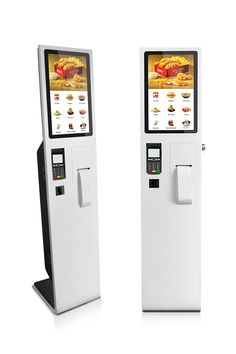 self-service consumer kiosks windows/android os with printer and qr code/bar code scanner leave space for POS terminal/ NFC reader Digital Signage, Digital Kiosk, Digital Retail, Kiosk Design, Display Design, Information Kiosk, Tv Furniture, Self Service, Restaurant Equipment