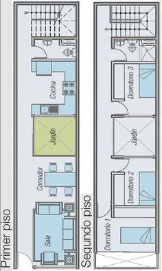 Resultado de imagen para como distribuir un terreno de 4 x 20 metros para dos pisos Narrow House Designs, Narrow House Plans, Small House Floor Plans, Duplex House Plans, Small House Design, Layouts Casa, House Layouts, House Construction Plan, Casas Containers