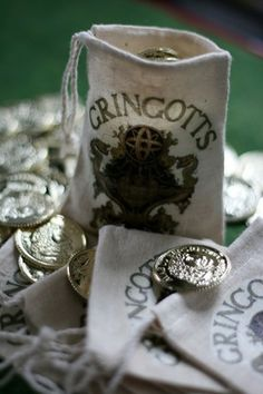 Gringott's Bag and more Harry Potter party ideas by Michelle of So Wonderful, So Marvelous blog.