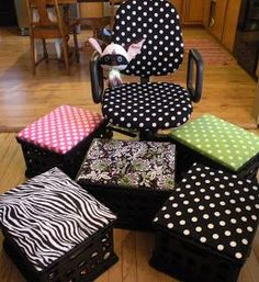 Great idea!!! Paint milk crates and upholster a piece of plywood to create a seat for the top of the milk crate.