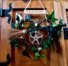 Personalised Vine Heart, Besom & Pentacle Witch Kitchen wreath. Handfasting .