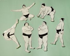 Sticker of sumo Food Graphic Design, Design Art, Illustration Sketches, Illustrations And Posters, Japanese Design, Japanese Art, Japanese Woodcut, Sumo Wrestler, Japanese Stationery