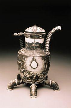 Jason Walker. Untitled teapot, 2004. Porcelain with black underglaze, black clay, and platinum luster.