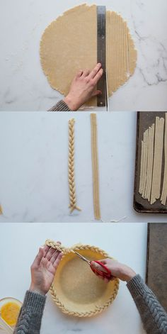 Want to make a stunning centerpiece-worthy braided pie crust? With a little patience a steady hand and our step-by-step tutorial you can! No Bake Desserts, Delicious Desserts, Dessert Recipes, Food Design, Pie Crust Designs, Pie Decoration, Pies Art, Pie Crust Recipes, No Bake Pies