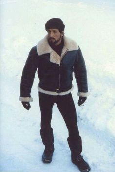 Sly in shearling Rocky Balboa, Sylvester Stallone, Rocky 1976, Rocky Film, Stallone Rocky, Sheepskin Jacket, Hard Men, The Expendables, Shearling Jacket