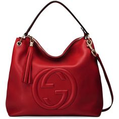 Gucci Soho Large Leather Hobo Bag ($1,980) ❤ liked on Polyvore featuring bags, handbags, shoulder bags, bolsas, purses, borse, red, leather hobo handbags, hobo shoulder bag and leather shoulder handbags