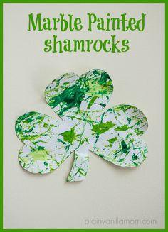 St. Patrick's Day Marble Painting - Plain Vanilla Mom