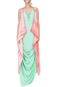 Pink Shibori Print Jacket and Aqua Drape Dress Set By Megha & Jigar