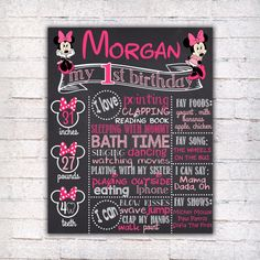 Minnie Mouse First Birthday Chalkboard Sign - Printable 1st Birthday board Poster - Pink Girl Chalkboard - Personalized Custom Sign - 094