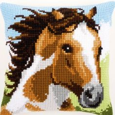 Needlepoint kit featuring a horse. The design is hand painted exactly upon the weaving threads of the canvas. Cat Cross Stitches, Cross Stitching, Cross Stitch Embroidery, Cross Stitch Designs, Cross Stitch Patterns, Pixel Art, Cheval Pie, Swedish Weaving Patterns, Pillow Embroidery