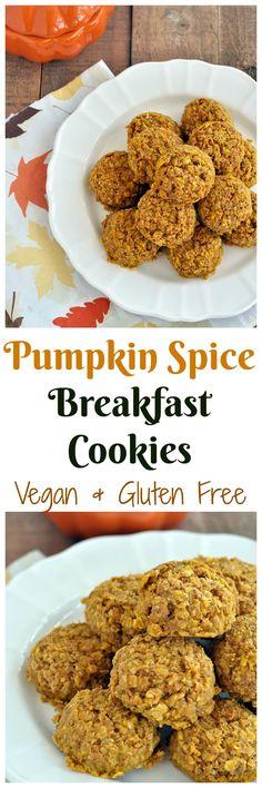 Pumpkin Spice Breakfast Cookies - Vegan and Gluten Free. Enjoy this fall breakfast treat! Pumpkin Recipes, Fall Recipes, Whole Food Recipes, Cooking Recipes, Vegan Recipes, Pumpkin Foods, Coconut Recipes, Oatmeal Recipes, Apple Recipes