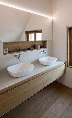 Gallery of Haus SPK / nbundm 9 Bathroom Design Gallery Haus nbundm SPK Bathroom Toilets, Bathroom Renos, Laundry In Bathroom, Bathroom Flooring, Bathroom Ideas, Bathroom Organization, Bathroom Remodeling, Bathroom Niche, Remodel Bathroom