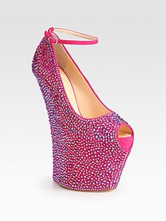 """OMG.. can you say """"break your ankle shoe""""... Giuseppe Zanotti Crystal-Coated Suede Curved Wedge Platform Pumps"""
