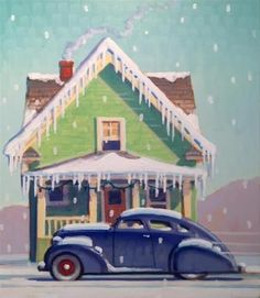 """Daily Paintworks - """"Decemberr Snow"""" - Original Fine Art for Sale - © Robert LaDuke"""