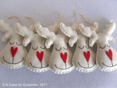 Set of 6 pearl Reindeers - Christmas ornaments