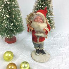 """Vintage celluloid face Santa Japan 1920s30s 6"""" spun cotton, composite Christmas decor from MilkweedVintageHome by MilkweedVintageHome on Etsy https://www.etsy.com/listing/491186335/vintage-celluloid-face-santa-japan"""