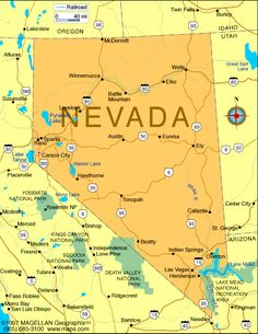 "Map of Nevada-Capital: Carson City; organized as a territory: March 2,1861; became a state: October 31,1864; motto: All for country; flower: Sagebrush; tree: Single-leaf Pinon & Bristlecone Pine; bird: Mountain Bluebird; nickname: Sagebrush State; Silver State; Battle Born State; origin of name: Spanish meaning ""snow-capped""; points of interest: Lake Tahoe; Lake Mead; Hoover Dam; Las Vegas; Reno"
