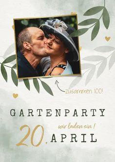 Einladungskarte zum Gartengeburtstag mit Foto und Herzen - Einladungskarten #einladungskarten #einladungen #geburtstagseinladung #gartenparty #garten #einladung #geburtstag #doppelgeburtstag #kaartje2go