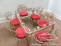 Vintage Ornate Gilt Metal Wrought Iron Patio Dining Table & Chair Set