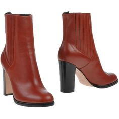 Gianvito Rossi Ankle Boots (5 060 SEK) ❤ liked on Polyvore featuring shoes, boots, ankle booties, rust, bootie boots, real leather boots, leather bootie, leather ankle booties and round toe booties