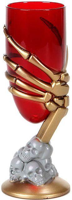Copo vermelho mão e caveiras Halloween: Este copo é de plástico vermelho. A base tem caveiras e uma mão de esqueleto dourada em relevo forma o pé do copo. Este acessório será perfeito para...