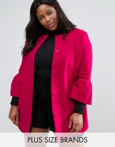 Get this Helene Berman Plus's wool coat now! Click for more details. Worldwide shipping. Helene Berman Plus Coat With Fluted Sleeves In Wool Mix - Pink: Plus-size coat by Helene Berman Plus, Wool-rich fabric, Textured finish, Collarless design, Button placket, Fluted sleeves, Regular fit - true to size, Dry clean, 74% Wool, 24% Polyamide, 2% Elastane, Our model wears a UK 18/EU 46/US 14 and is 178cm/5'10 tall. (abrigo de lana, lanas, jaspeado, duster, wool, cotton, wool-blend, wool-mix…