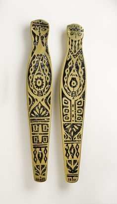 King and Queen Door Pulls, hand-cast brass with black mother-of-pearl inlay, Evelyn Ackerman, 1959