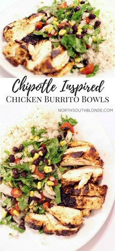 Chipotle Mexican Grill inspired chicken burrito bowls are an easy & delicious main dish, a recipe for the whole family | gluten-free | healthy | nutritious | cilantro lime rice | salad | dinner