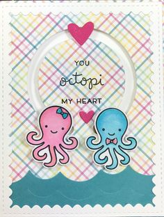 First Valentine for 2017, Lawn Fawns you octopi my heart. and MFT circle spinner channels die .