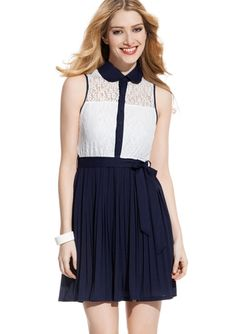 YA LOS ANGELES Sleeveless Twofer Dress with Lace Top