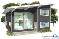 Modern home plan with spacious living area. High ceilings and big windows directed towards view.  Four bedrooms, simple lines and shapes, affordable building budget. Very popular small house in modern style.