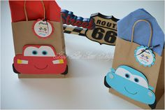 Cars Favor Bags / McQueen Mater and Sally Goody Bags / Cars