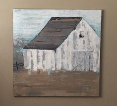 """Barn Painting 20"""" x 20"""", Farm Painting, Landscape Painting, Old Barn, White Barn, Abstract Art by MintBluDesigns on Etsy"""