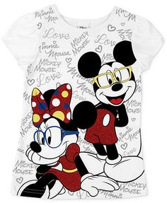 Disney Little Girls' Minnie & Mickey Mouse Tee