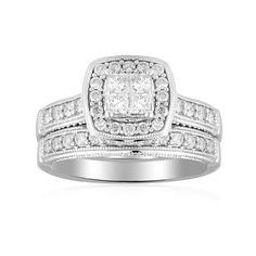 14k White Gold Princess-Cut Quad Center Diamond Bridal Ring Set (1/2 cttw H-I Color, I1-I2 Clarity), Size 7 Amazon Curated Collection,http://www.amazon.com/dp/B004FPZFNS/ref=cm_sw_r_pi_dp_5mwtsb08ZYB0EQNQ