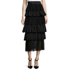 Alexis Miriella Tiered Midi Skirt (€195) ❤ liked on Polyvore featuring skirts, black, alexis skirt, mid calf skirts, tiered skirt, midi skirt and calf length skirts