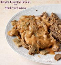 This is a recipe for a delicious, melt-in-your-mouth tender roast. This Tender Grassfed Brisket with Mushroom Gravy is a foundational dish! Paleo Recipes, Real Food Recipes, Cooking Recipes, Beef Brisket Oven, Mushroom Gravy, Fermented Foods, Cravings, Protein, Stuffed Mushrooms