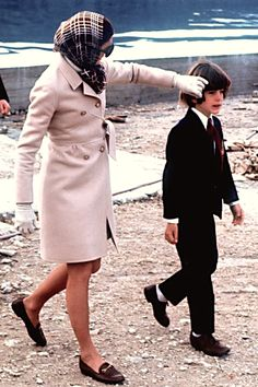 Jackie Kennedy with John Jr. while visiting Greece, 1969