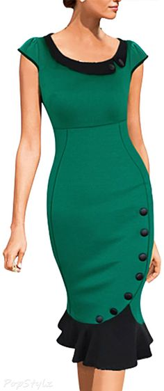 Absolutely beautiful Jade Ruffle Bodycon Dress // Very nice. green black dress purse handbag neck-less earrings gold shoes Beautiful Outfits, Cute Outfits, Skirt Outfits, Mom Outfits, Beautiful Clothes, Beautiful Things, Fall Outfits, Business Outfit, Business Wear