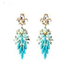 Alloy Fashion Jewelry Women Shiny Leaves Long Bib Statement Drop Earrings