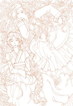 Free Printable! A coloring page version of my Hanbok ladies illustration. The simple manga/comic style portraits leave lots of room for your own coloring touches - go realistic, go simple, go cute! The free download is available over at my online portfolio.