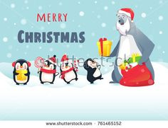 Merry Christmas with cute animals. Polar Bear Gives Christmas Gifts to Penguins. Greeting card vector illustration. Stock photography, images, pictures, Illustrations, ideas. Download vector illustrations and photos on Shutterstock, Istockphoto, Fotolia, Adobe, Dreamstime