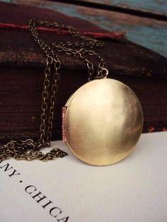 Vintage Large Locket Necklace Brass Copper Photo Locket