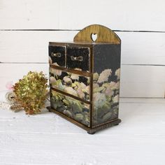 Shabby Black Hydrangea Wooden Mini chest by Alenahandmade on Etsy